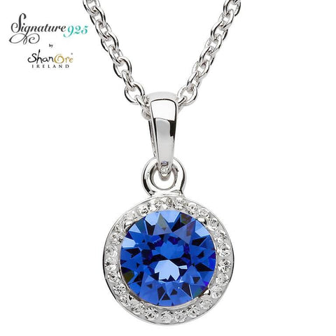 Signature 925 Collection Round Silver Halo Pendant Adorned With Sapphire and White Swarovski Crystals Necklace