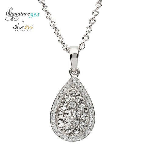 Signature 925 Collection Silver Pear Shape Pendant Encrusted With White Swarovski Crystals Necklace