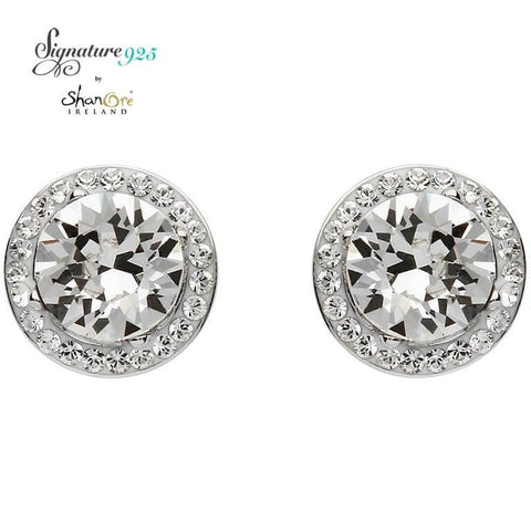 Signature 925 Collecton | Round Halo Silver Earrings Adorned With Swarovski Crystals