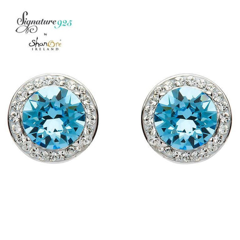 Earrings | Signature 925 Collecton | Round Halo Silver Earrings Adorned With Aquamarine and White Swarovski Crystals