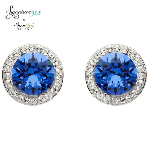 Signature 925 Collecton | Round Halo Silver Earrings Adorned With Sapphire and White Swarovski Crystals