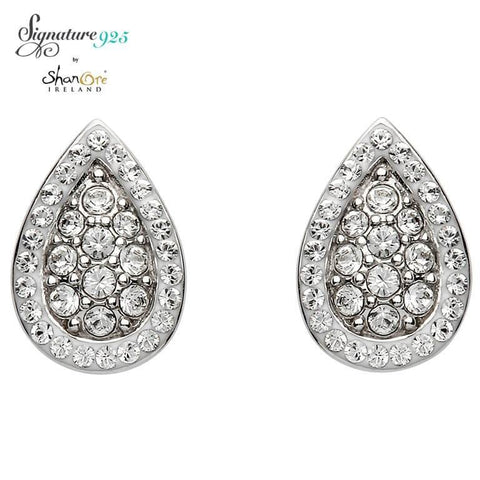 Signature 925 Collecton | Silver Pear Shaped Earrings Encrusted With Swarovski Crystals