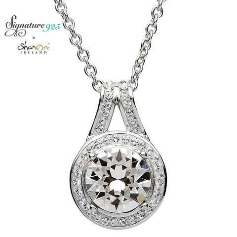 Signature 925 Collection Halo Silver Pendant Embellished With White Swarovski Crystal Necklace
