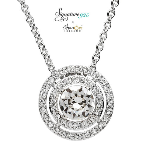 Signature 925 Collection Double Halo Silver Pendant Embellished With Swarovski Crystals Necklace