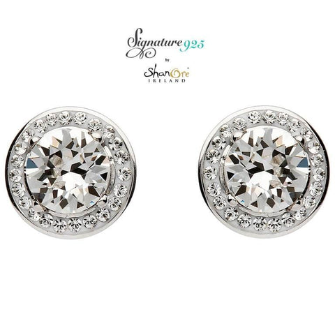 Signature 925 Collecton | Round Halo Silver Earrings Embellished With Swarovski Crystals