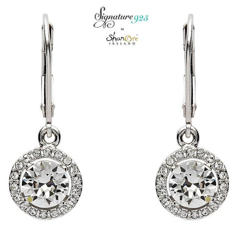 Signature 925 Collecton | Round Halo Silver Drop Earrings Adorned With Swarovski Crystals