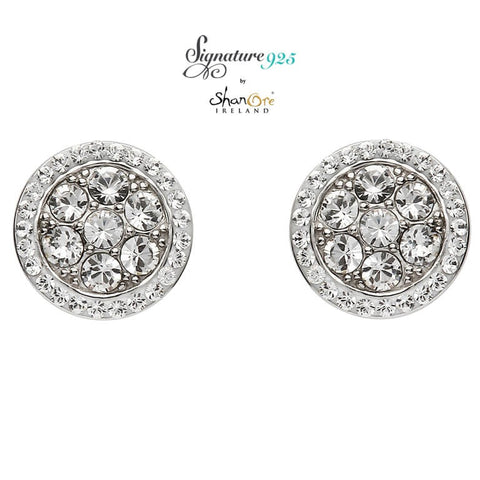 Earrings | Signature 925 Collecton | Silver Round Halo Stud Earrings Encrusted With Swarovski Crystals