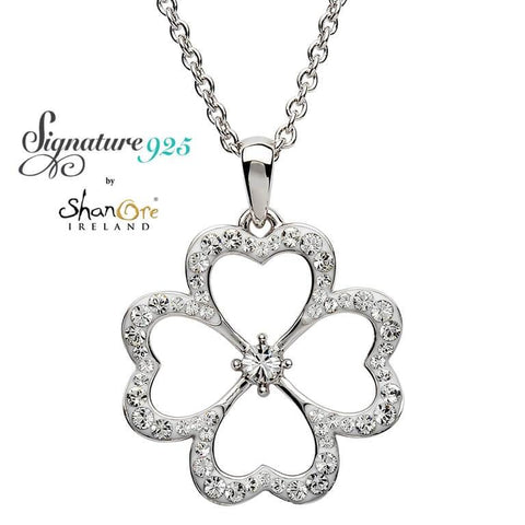 Signature 925 Collection Silver Pendant Embellished With White Swarovski Crystal Neckalce