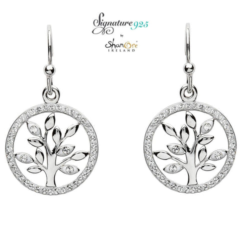 Signature 925 Collection | Tree Of Life Silver Earrings Adorned With Swarovski Crystal