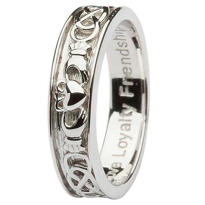 Men's Gents Silver Claddagh Celtic wedding Ring