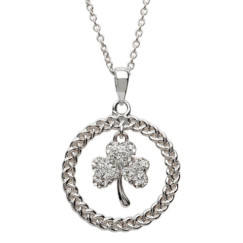 Swarovski Shamrock Circle Necklace