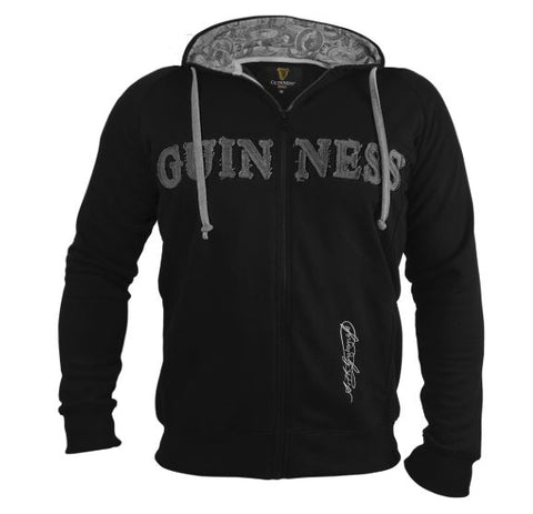 Guinness Black and Grey Vintage Label Lined Hoodie Sweatshirt