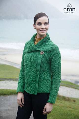 One Button Aran Merino Wool Cardigan