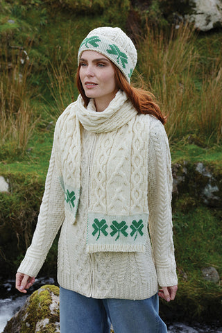 Cream Scarf with Shamrocks