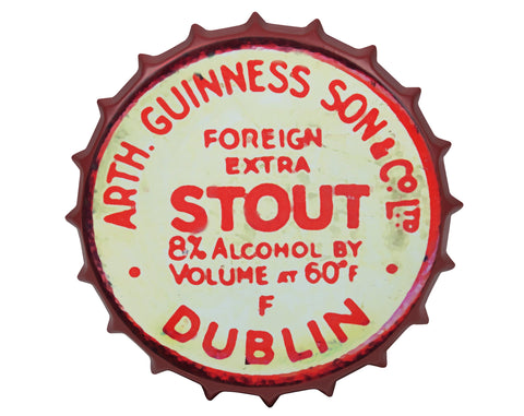 Guinness | Art | Red Vintage Metal Bottle Cap Sign
