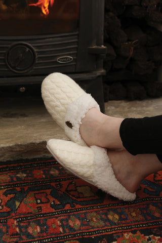Irish Cable Knit Adult Slippers