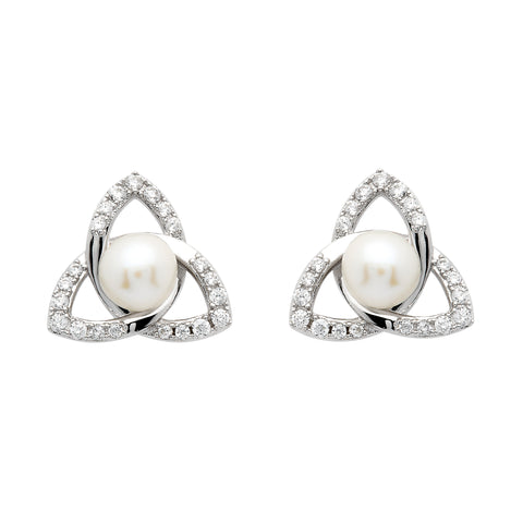 Trinity Knot Pearl Stud Earrings