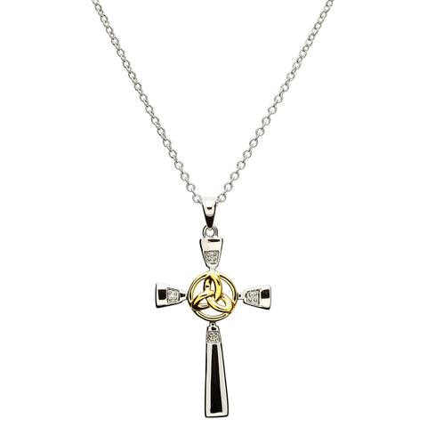SharOre Celtic Silver Cross with Gold Plate Trinity Necklaces