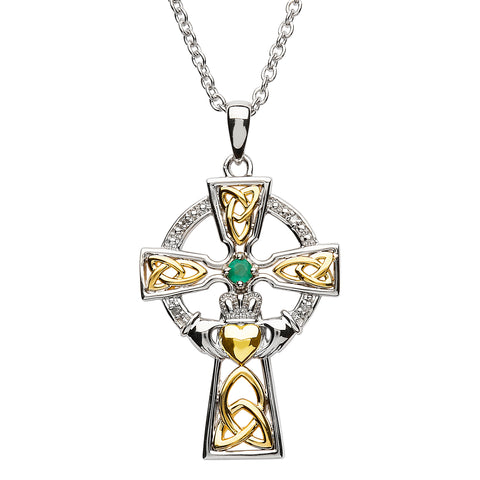 ShanOre Emerald and Diamond Claddagh Cross