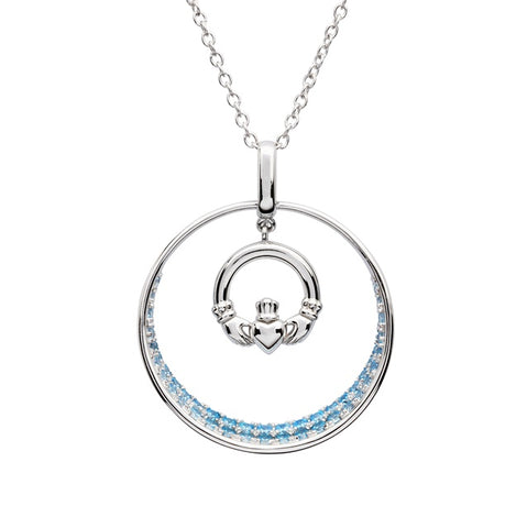 ShanOre Claddagh Aqua CZ Necklace