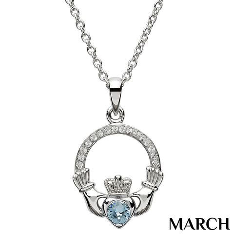 SharOre Claddagh Birthstone March Necklace