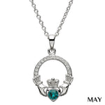 SharOre Claddagh Birthstone May Necklace