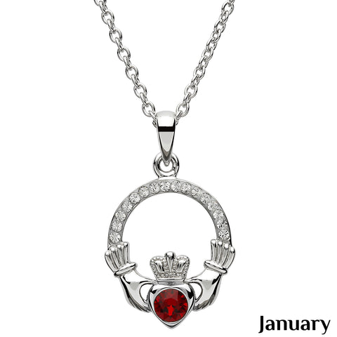 Claddagh Birthstone January Necklace