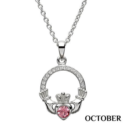 SharOre Claddagh Birthstone October Necklace