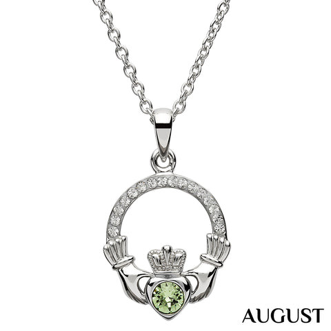Necklace | Claddagh Birthstone August