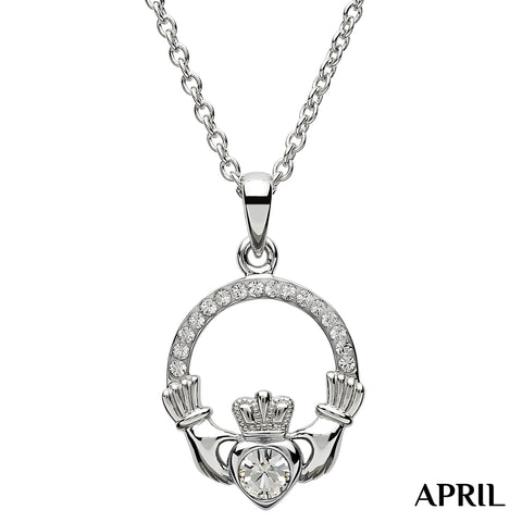 Necklace | Claddagh Birthstone April