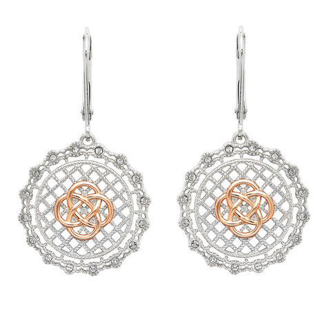 Irish Lace Celtic Knot Drop Earrings