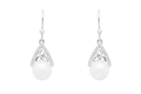 Trinity CZ Pearl Earrings