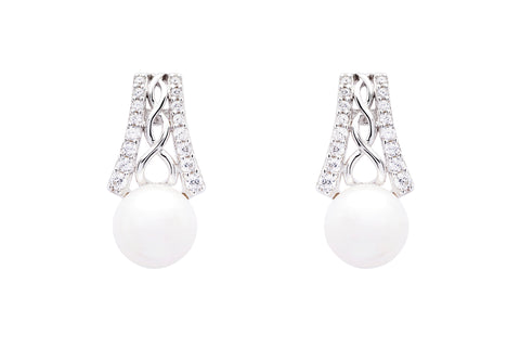 CZ Trinity Pearl Earrings
