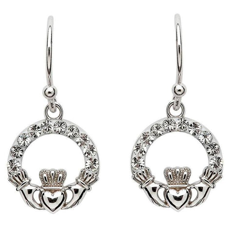 Swarovski Crystal Claddagh Earrings