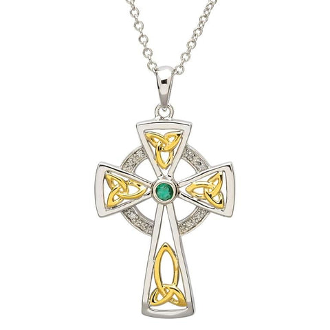 ShanOre Diamond and Emerald Celtic Trinity Cross