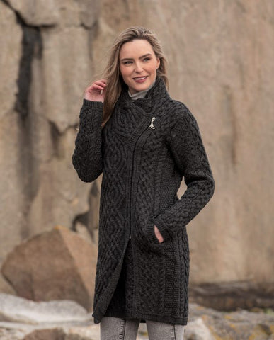 Cable knit side zip coat