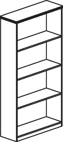 "HON 10500 Laminate Collection, Bookcase, 4-Shelf, 36"" W x 13"" D x 58"" H"