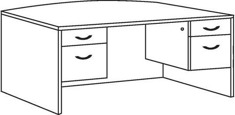 "Bow Front Double Pedestal Desk, 72"" x 36"""