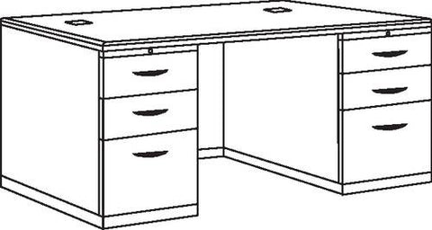 "Double Pedestal Desk, 72"" x 36"", Deluxe Series"