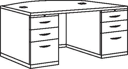 "Double Pedestal Bow Front Desk, 72"" x 36"" x 29"" H, Deluxe Series"