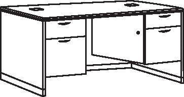 "Double Pedestal Desk, 72"" x 36"", Standard Series"