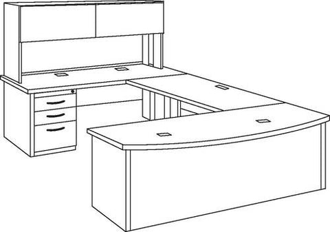 "Trace™ Bowfront ""U""-Shaped Desk with Hutch"