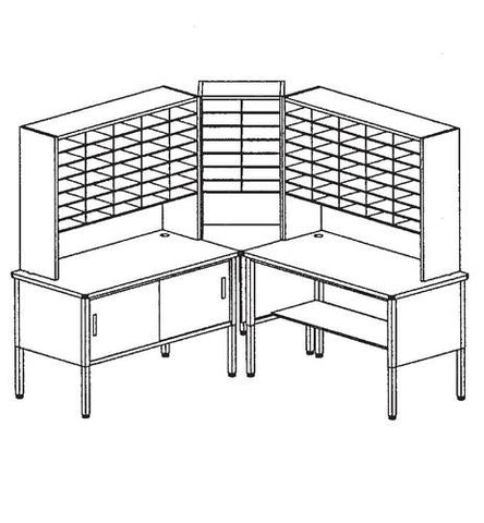 Marvel Mailroom Furniture, 84-Pocket Configuration