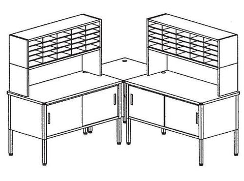 Marvel Mailroom Furniture, 50-Pocket Configuration with Two Tables