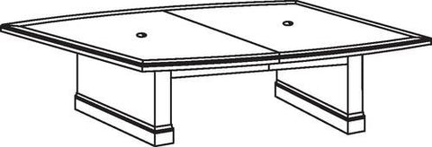 "Belmont Series Boat-Shaped Conference Table, 120"" x 48"", 2-Piece Top"