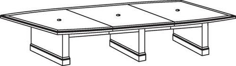 "Belmont Series Boat-Shaped Conference Table, 168"" x 48"", 3-Piece Top"
