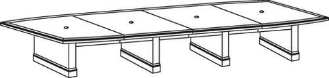 "Belmont Series Boat-Shaped Conference Table, 216"" x 48"", 4-Piece Top"