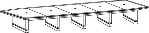"Belmont Series Boat-Shaped Conference Table, 264"" x 48"", 5-Piece Top"