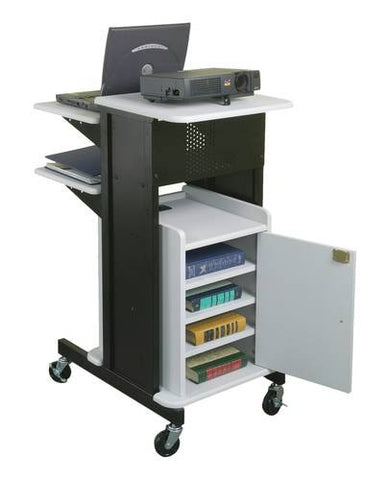 Deluxe Presentation Cart with Extra Shelf and Locking Cabinet