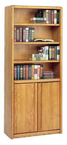 Handcrafted Genuine Oak Bookcase with Doors